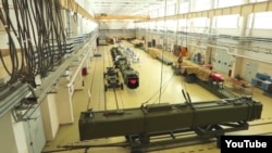 A screen grab from a Russian Defense Ministry video showing the assembly line of the Burevestnik nuclear missile.
