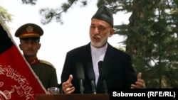 Afghan President Hamid Karzai addresses a press conference in Kabul on August 24.