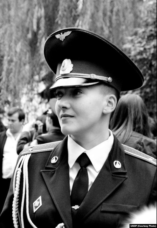 Savchenko at her graduation from Ukraine's Air Force University in Kharkiv