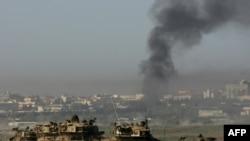 ستون تانکهای ارتش اسرائيل در نوار غزه، ۲۶ دیماه ۱۳۸۷