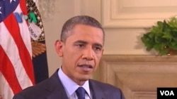 واشنګټن ډي سي: امریکايي ولسمشر باراک اوباما له امریکا غږ سره د مرکې پر مهال. نوموړي د تېرې چارشنبې په شپه له افغانستانه د ۳۳۰۰۰ سرتېرو د ویستو اعلان وکړ. دا انځور د ۲۰۱۱ز کال د جون د ۲۲مې دی.