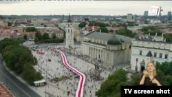 Акцыя салідарнасьці зь Беларусьсю ў Вільні 23 жніўня 2020 году.