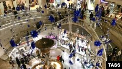 A Moscow shopping mall. Public contentment here depends largely on economic growth