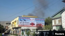 Smoke rises from the site of an attack in Kabul on September 6.