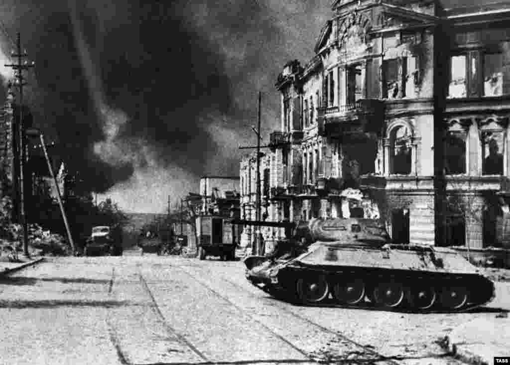 Soviet Union -- A view of Lenin Street on a liberation day, Sevastopol, 1944