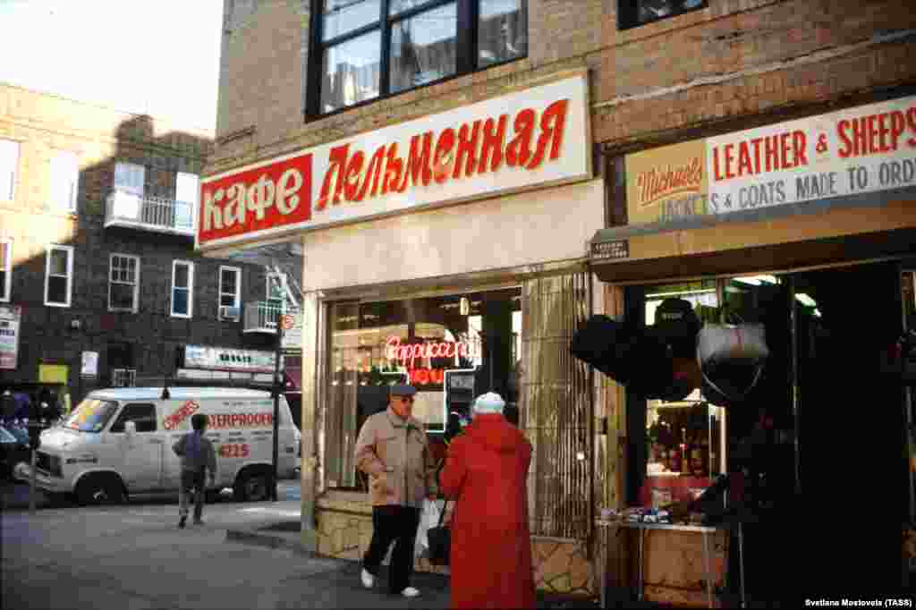 "Pelmennaya (dumpling) cafe in Brighton Beach in New York. Beginning in the 1970s, Brighton Beach became so popular with Jewish emigres from Ukraine and Russia that it gained the nickname ""little Odessa."""