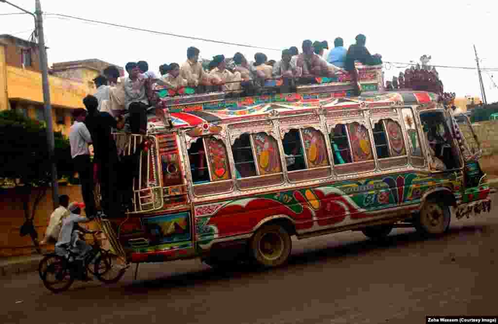 A colorful bus in Karachi.