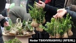 Праздник Входа Господня в Иерусалим православные христиане Грузии традиционно встречают с ветвями самшита в руках. Уличные торговцы выносят на продажу большие и маленькие букеты, декоративные корзинки с этим растением
