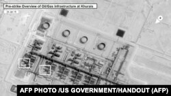 This satellite overview handout image obtained September 16, 2019 courtesy of the US Government shows a pre-strike image on January 24, 2019, before damage to oil/gas infrastructure from weekend drone attacks at Khurais oil field on September 14, 2019 in