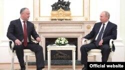 Igor Dodon și Vlaidmir Putin la Moscova, 14 iulie 2018.
