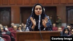 Reyhaneh Jabbari defends herself in court during her trial in 2009, which a UN human rights monitor described as flawed.