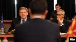 Средба на премиерот Никола Груевски и комесарот за проширување и соседска политика на ЕУ, Штефан Филе, 15 март 2012.