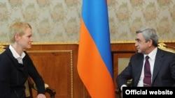 Armenian President Serzh Sarkisian (right) and U.S. Deputy Assistant Secretary of Defense Celeste Wallander