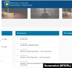 Konkurset e hapura për vende të reja të punës në Ministrinë e Drejtësisë.