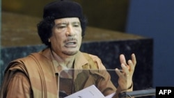 Libyan leader Muammar Qaddafi before the UN General Assembly in New York in September 2009