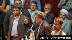 Former Iranian President Mahmoud Ahmadinejad speaking in a meeting in the city of Tabriz on Thursday May 31, 2018.