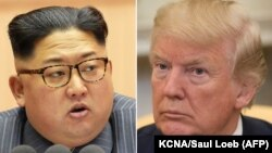 A composite file photo of North Korean leader Kim Jong-un (left) and U.S. President Donald Trump