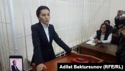 Депутат кыргызского парламента Аида Салянова (бывший генеральный прокурор) дает показания в суде. Бишкек, октябрь 2017 года.