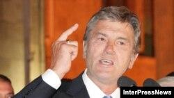 Президент України Віктор Ющенко виступив на підтримку Грузії на мітингу в Тбілісі 12 серпня 2008р.