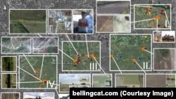 Набір знімків з космосу, ілюстрація Bellingcat до свого розслідування