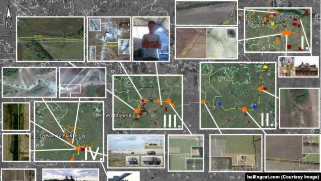Набор снимков из космоса, иллюстрация Bellingcat к своему расследованию