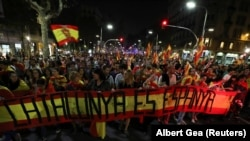 "Demonstrațție pro-unitate în Barcelona: ""Catalonia e Spania"", 27 octombrie 2017."