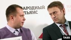 Николай Ляскин (слева) и Алексей Навальный в 2013 году