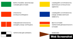 Система сигналов флагами на пляжах согласно требованиям Международной федерации спасения на воде (ISL)