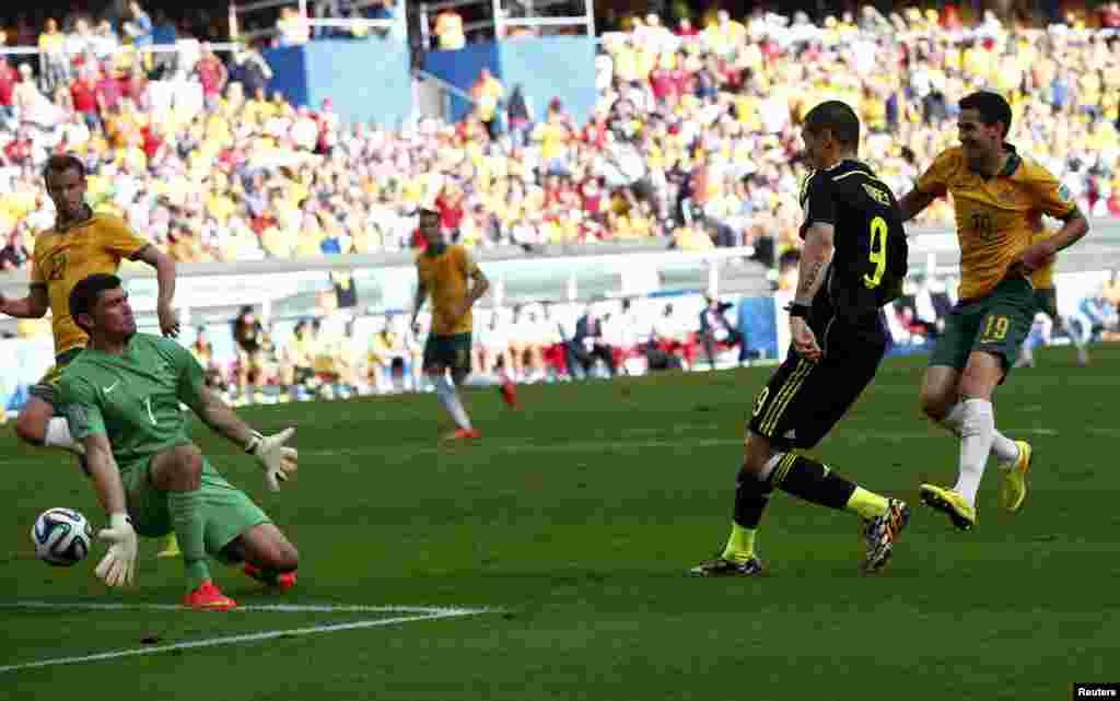 Биылғы әлемдік жарыста жолы болмаған экс-чемпион Испания құрамасы соңғы кездесуінде Австралия командасы қақпасына 3 доп кірігізді. Ойынның 69-минутында испан шабуылшысы Фернандо Торрестің (оң жақтан екінші) бәсекелестің қақпасына гол соққан сәті.
