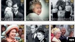 Ұлыбритания почта қызметінің патшайым Елизавета ІІ-патшайымның 90 жасқа толу құрметіне шығарған почта маркалары.