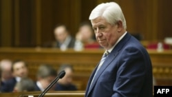 Viktor Shokin, candidate for the prosecutor-general post, speaks during a parlamentary session in Kyiv on February 10.
