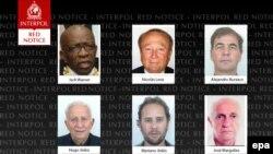 Интерпол сайтындағы ФИФА-ның іздеу жарияланған бұрынғы қызметкерлерінің суреттері. 3 маусым 2015 жыл.