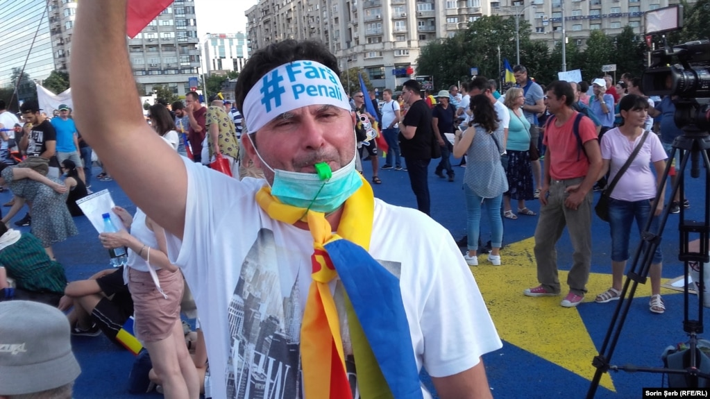 A protester in Bucharest on August 11.