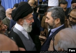 Tajik Islamic Renaissance Party Muhiddin Kabiri (right) meets Iranian Supreme leader Ayatollah Ali Khamenei in December 2015.