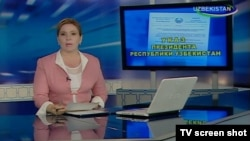 Uzbekistan - TV screen shot from Uzbek TVs program for Uzbek satiric program Television, 19Apr2012