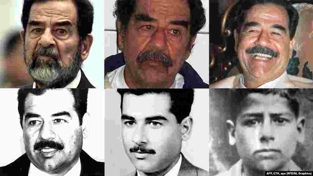 Fytyrat e Saddam Huseein nga 1940 deri më 2006.