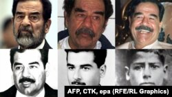 The many faces of Saddam Hussein: from the late 1940s (bottom right) to his trial in 2006 (top left).