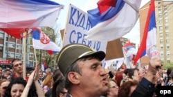 Protest Srba u Mitrovici protiv sporazuma Srbije i Kosova