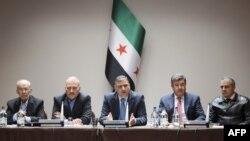Opozita siriane gjatë një takimi në Gjenevë, në kuadër të bisedimeve paqësore për Sirinë, 18 prill 2016