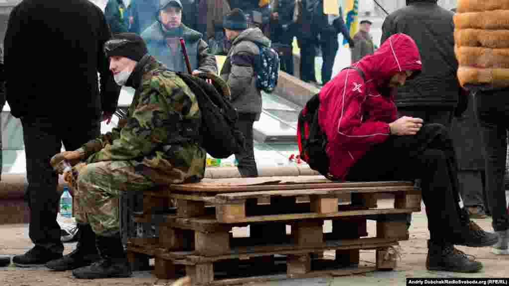 Учасники мітингу на майдані Незалежності у Києві, 21 лютого 2016 року
