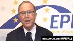Armenia - A screenshot of European People's Party President Wilfried Martens's video address to a congress of the ruling Republican Party of Armenia held on March 10, 2012.