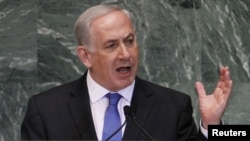 Israeli Prime Minister Benjamin Netanyahu addresses the 67th UN General Assembly on September 27.