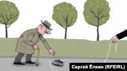 """Pensiya"". Karikatura. Rəssam Sergey Elkin"