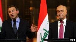 وزير الخارجية العراقي بالوكالة حسين الشهرستاني ووزير الخارجية اللبناني جبران باسيل في مؤتمر صحفي ببغداد