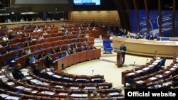 France - Armenian President Serzh Sarkisian speaks at the Council of Europe's Parliamentary Assembly, Strasbourg, 22Jun2011.