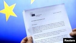 Belgium -- A letter sent by European Council Scrisoarea trimisă marți 20 februarie 2016 lideirlor din UE de președintele Consiliului European