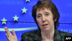 The EU's foreign policy chief, Catherine Ashton, talks to reporters in Brussels on January 23.