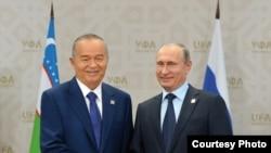 Президенты России и Узбекистана - Владимир Путин и Ислам Каримов. Уфа, 2015 год