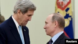 Переговоры Владимира Путина и Джона Керри, 15 декабря 2015 года.