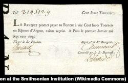 Купюра Королевского банка номиналом в сто ливров. Эмиссия 1720 года